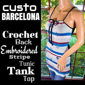 ▪️CUSTO BARCELONA▪️Crochet Back Embroidered Tank